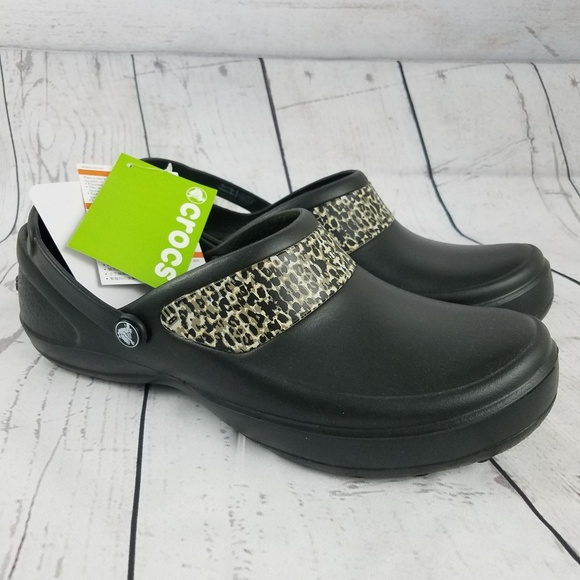 96c7ea967dc7d7 CROCS Mercy Work Black Gold Roomy Fit Clog